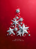 Christmas and New Years red background with Christmas Tree. Made of cutout paper stars Stock Images