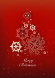 Christmas and New Years red background with Christmas Tree made Royalty Free Stock Photography