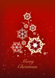 Christmas and New Years red background with Christmas Tree. Made of snowflakes. Vector illustration vector illustration