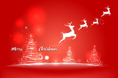 Christmas and New Years red background with Christmas Tree. Vector illustration Royalty Free Stock Image