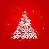 Christmas and New Years red background with Tree Royalty Free Stock Image