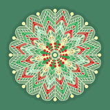 Christmas and New Years retro snowflake symbol. Vintage  pattern isolated on green background. Design for greeting cards, fabric, wrapping paper, invitation Royalty Free Stock Image