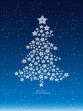 Christmas and new years snow background with star christmas Tree Stock Image