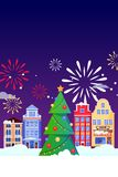 Christmas New Years holiday greeting card. Vector flat illustration. Carnival, festival banner, poster background design stock illustration
