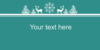 Christmas New Years Web Banner Poster. White Silhouettes Deers Fir Trees Snow Flake. Border Copy Space For Text. Sale Announcement Royalty Free Stock Photos