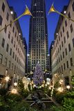 Christmas in New York. View of New York's Rockefeller Center Christmas tree Royalty Free Stock Images