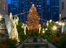 Christmas in New York. Christmas tree in Rockefeller Plaza in NYC Royalty Free Stock Photo