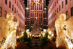 Christmas In New York. Angels line the sides of Rockefeller Center during the Christmas season in New York stock photography
