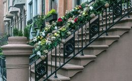 Christmas New York City brownstone Stock Image