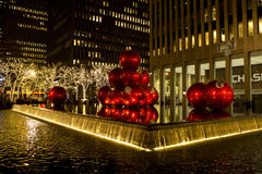 Christmas New York city decorations. Along with lightened trees in 6th avenue near Radio City Music Hall stock images