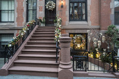 Christmas New York City. Christmas holiday in New York City brownstone on upper East Side stock photos