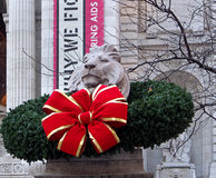 Christmas at the New York Public Library. Christmas decoration at the New York Public Library on Fifth Avenue at 42nd Street stock photography
