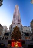Christmas in new york - Rockefeller Center Christmas Tree. New York, USA - December 3, 2015: A shot of the 2015 Rockefeller Center Christmas Tree, with people stock image
