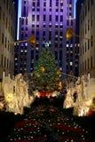 Christmas in new york - Rockefeller Center Christmas Tree. New York, USA - December 3, 2015: A shot of the 2015 Rockefeller Center Christmas Tree, with people royalty free stock images