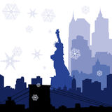 Christmas New York silhouettes Royalty Free Stock Image