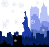 Christmas New York silhouettes illustration Stock Image