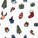 Christmas and New Yyear doodles seamless pattern. Set of winter holidays signs and symbols - christmas ball, snowman. Fir tree, cocoa etc. Stock vector stock illustration