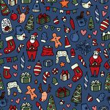 Christmas and New Yyear doodles seamless pattern. Set of winter holidays signs and symbols - Santa Claus, christmas ball. Snowman, fir tree, cocoa etc. Stock stock illustration