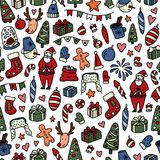Christmas and New Yyear doodles seamless pattern. Set of winter holidays signs and symbols - Santa Claus, christmas ball. Snowman, fir tree, cocoa etc. Stock royalty free illustration