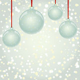 Christmas NewYear balls with ribbon hanging on snowflakes backgr. NewYear and Christmas decorative vector elements and background. Glass balls with red ribbon Royalty Free Stock Photography