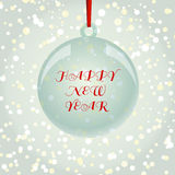 Christmas NewYear greeting card with ball on snowflakes backgrou. NewYear and Christmas decorative vector elements and background. Glass ball with red ribbon Royalty Free Stock Photography