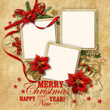 Christmas nice vintage background with frame for family Royalty Free Stock Image