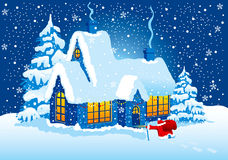 Christmas Night. Santa Claus comes to visit. Vector stock illustration