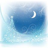 Christmas Night. Christmas star tree on blue background Royalty Free Stock Photo