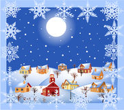 Christmas night. Illustration of christmas landscape showing village houses, moon and stars Royalty Free Stock Images