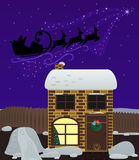 Christmas night. Santa Claus flies by night sky over the house. Christmas background. Large objects in separate layers Stock Images