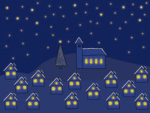 Christmas night. Village with glowing windows on a Christmas night stock illustration