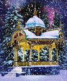 Christmas Night. Snowy Old Summer-House at Sumy, Ukraine Royalty Free Stock Images