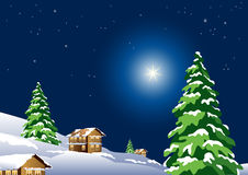 Christmas Night. Beautiful Christmas night with stars in the sky stock illustration