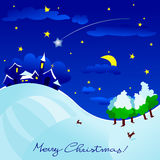 Christmas night. Christmas landscape with country star and comet Stock Image