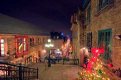 Christmas night. Night shot of a street in the old town of Quebec City, Canada Stock Images