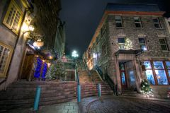 Christmas night. Old part of Quebec City decorated for Christmas Stock Images