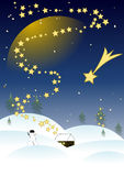 Christmas Night. Snowy christmas night in hills Royalty Free Stock Images