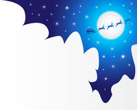 Christmas night. Illustration of a christmas night with santa silhouette Royalty Free Stock Photography