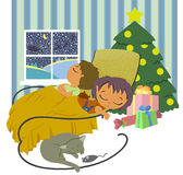 Christmas night. The children were asleep, waiting for Santa on Christmas night vector illustration