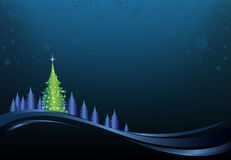 Christmas Night. This image is a vector file representing a christmas holiday card, and all the elements can be scaled to any size without loss of resolution Stock Photo