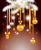Christmas night. Background with balls Royalty Free Stock Photography