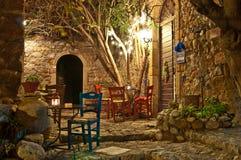 Christmas night. Christmas-decorated street of Monemvasia, Greece Stock Photo