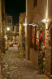Christmas night. Christmas-decorated street of Monemvasia, Greece Royalty Free Stock Images