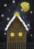 Christmas night. With house and big moon Royalty Free Stock Images