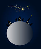 Christmas Night. Snowy globe, winter landscape, starlit sky and shooting star royalty free illustration