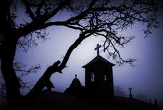 Christmas night. Moonlight picture of a church at Christmas night stock photo