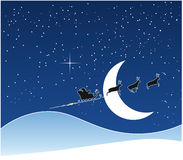 Christmas night. Santa Claus sledge in christmas night Royalty Free Illustration