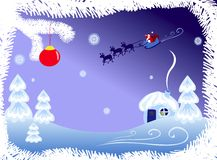 Christmas night. Landscape background with flying Santa vector illustration