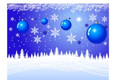 Christmas Night. With snow and ornaments and bright star Stock Photo