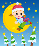 Christmas night. Illustration of little girl on the moon in the christmas night Stock Photography